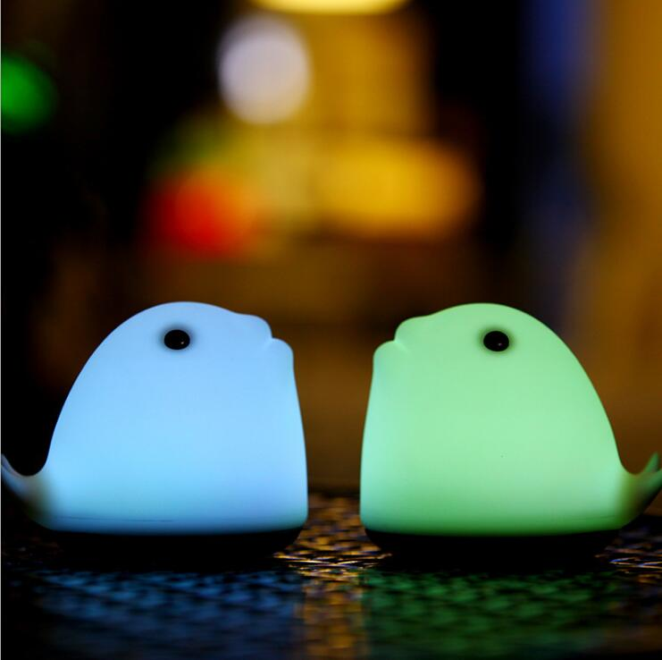 Dolphin Led Night Light Pat Lamp 5 Colors USB Rechargeable