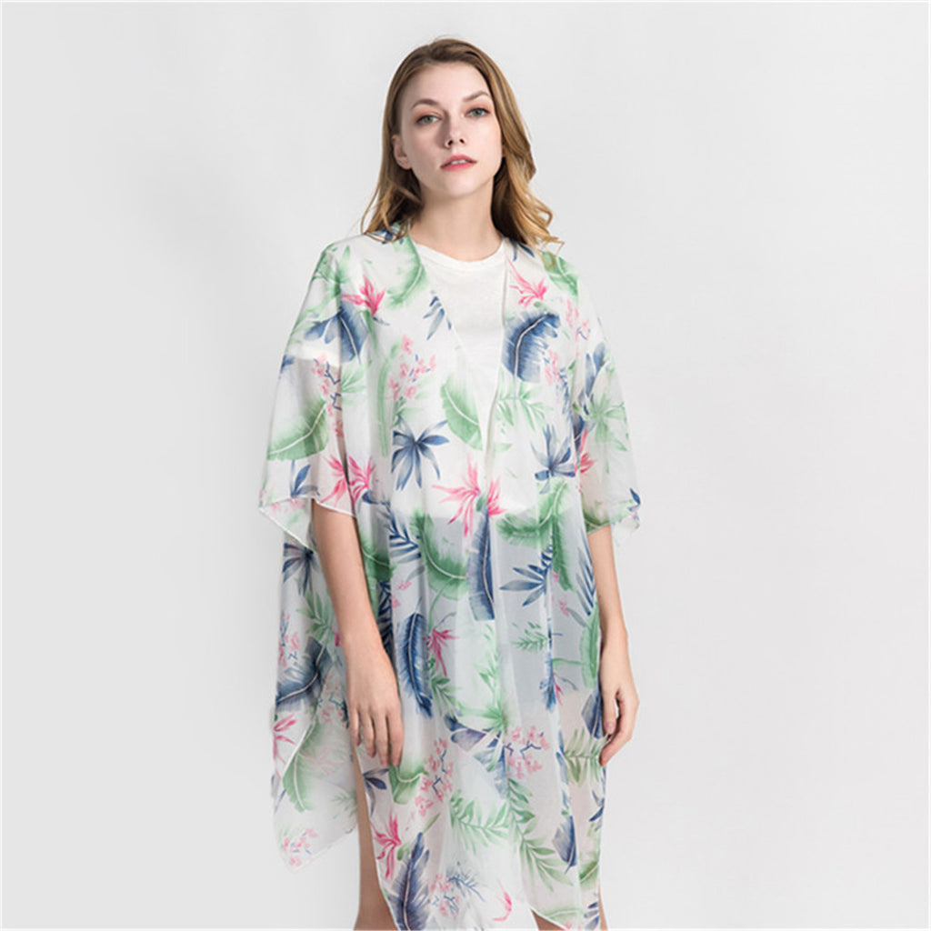 Women Summer Beach Chiffon Cover Up Cardigan Shawl
