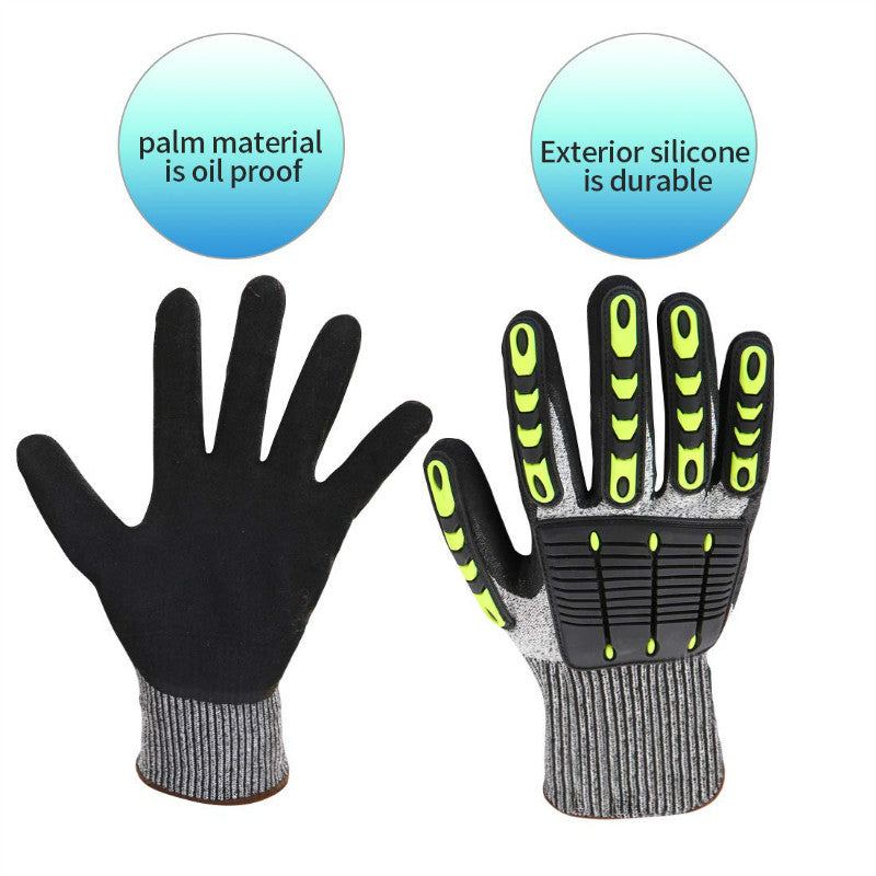 TPR Cut Resistant Safety Work Gloves Full Finger Resistant Impact Gloves