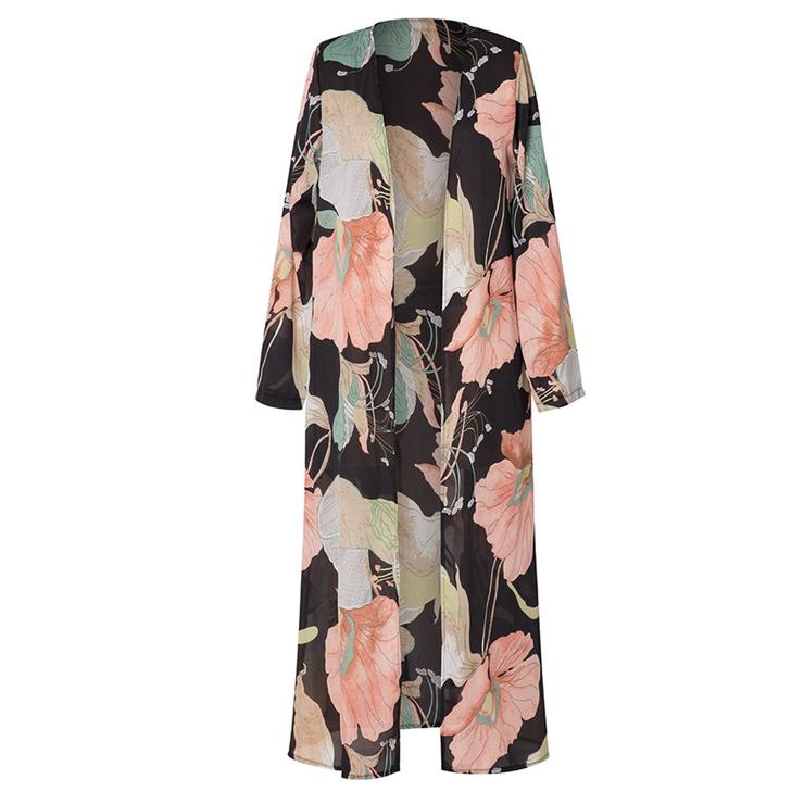 Women Fashion Long Sleeve Floral Printed Casual Loose Chiffon Cover Up Coat