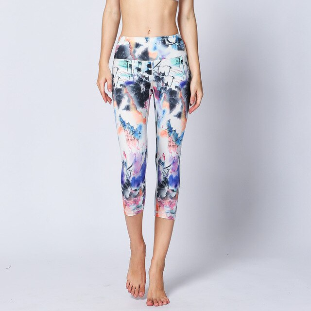 Women Print Yoga Cropped Pants High Waist Leggings Gym Pants