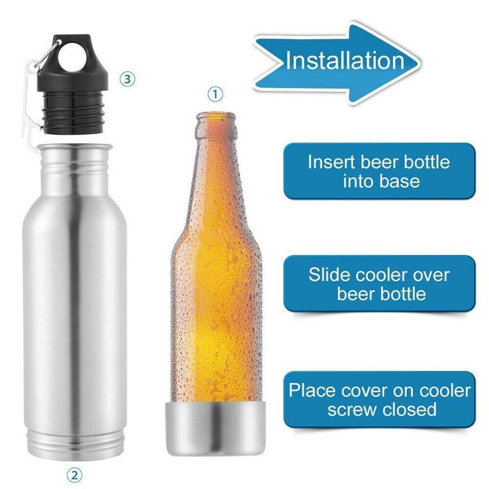 Stainless Steel Beer Bottle Koozie w/ Neoprene Sleeve