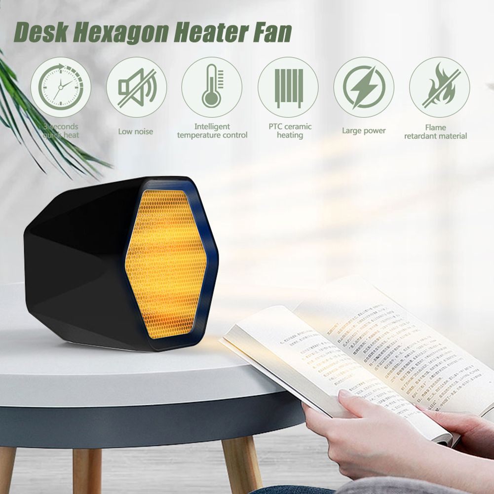 600W/1000W Electric Hexagon Mini Ceramic Heater Fan Warmer  with Adjustable Thermostat