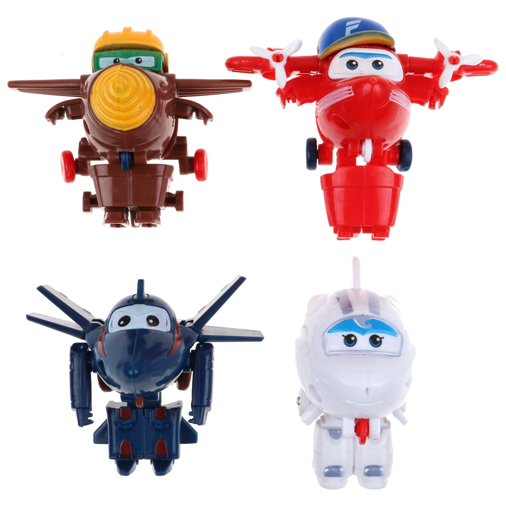 4Pcs Super Wings Mini CHASE ASTRA FLIP TODD Transformer Robot Toy Season 3