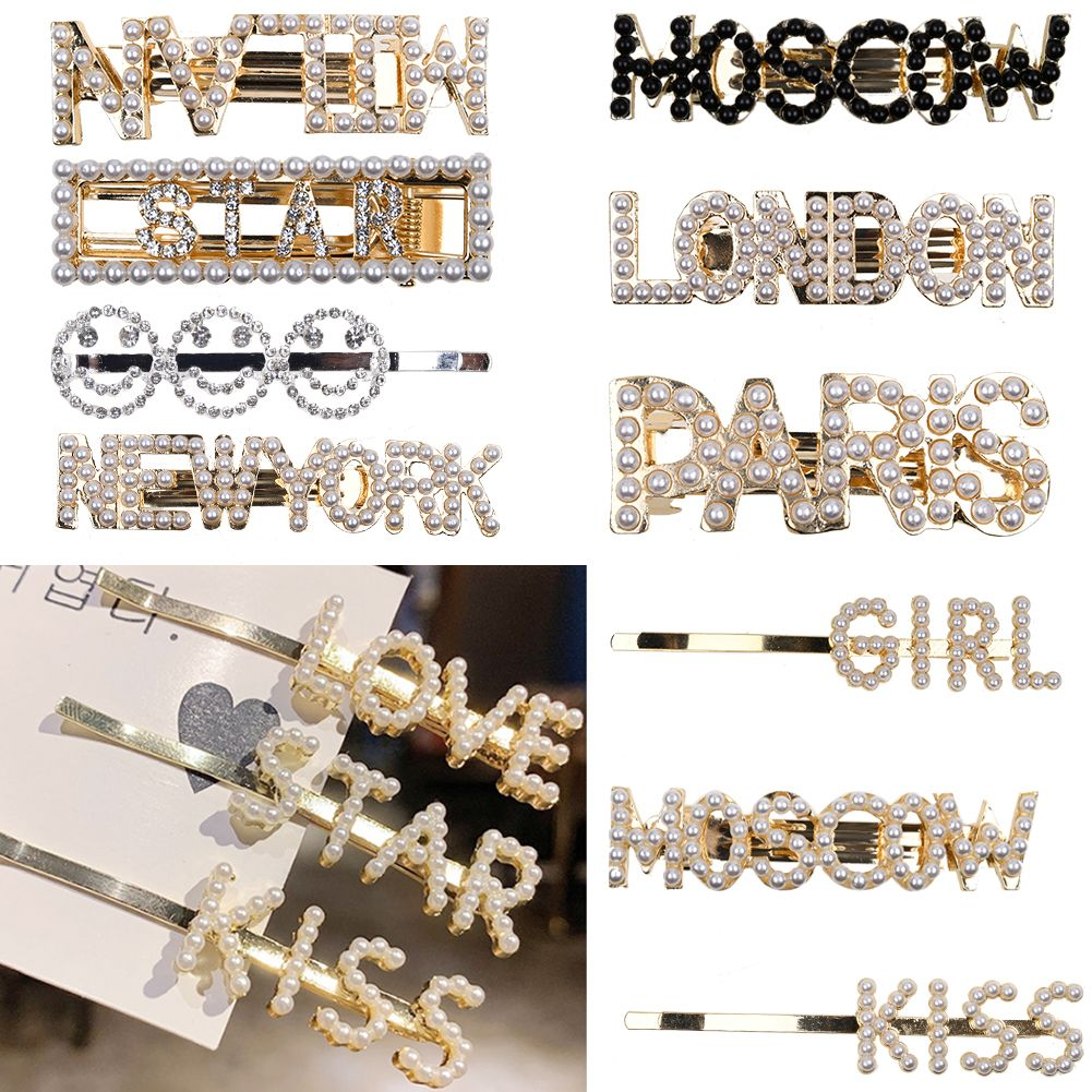 6 Pcs Crystal Slogan Words Letters Hair Clip