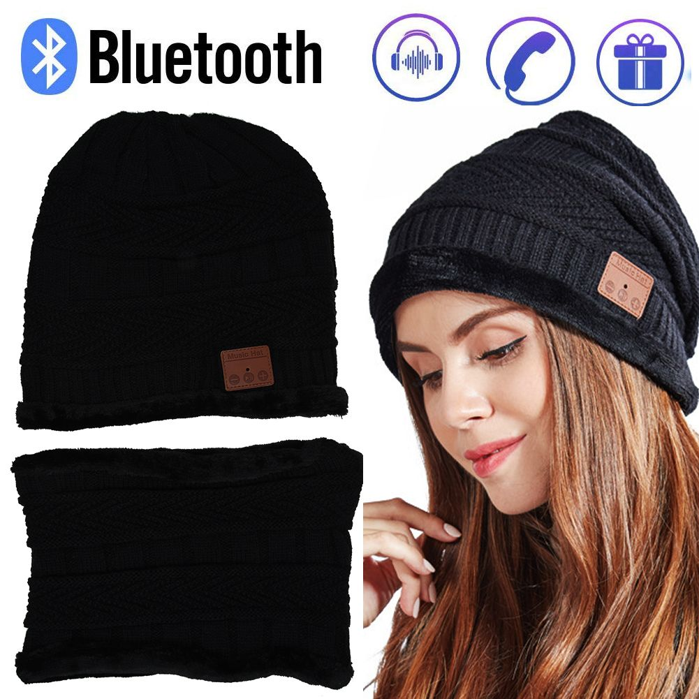 Bluetooth Music Soft Hat Winter Wireless Stereo Headset Cap Scarf Set