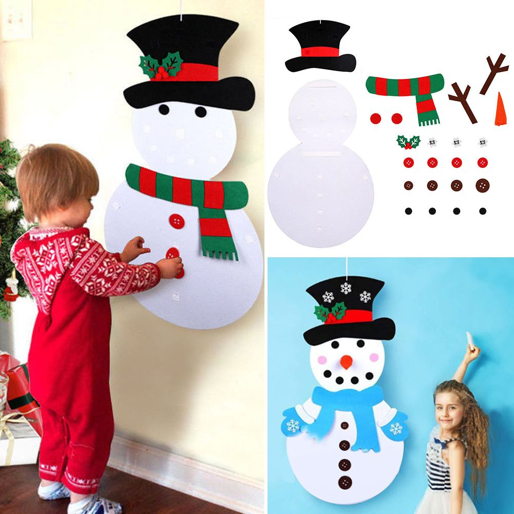 DIY Felt Snowman Christmas Tree Set Christmas Decor Wall Hanging