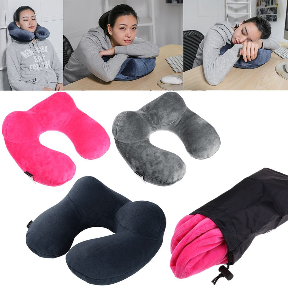 U-Shape Inflatable Cushion Neck Pillow Headrest Car Flight Travel Support w/ Bag