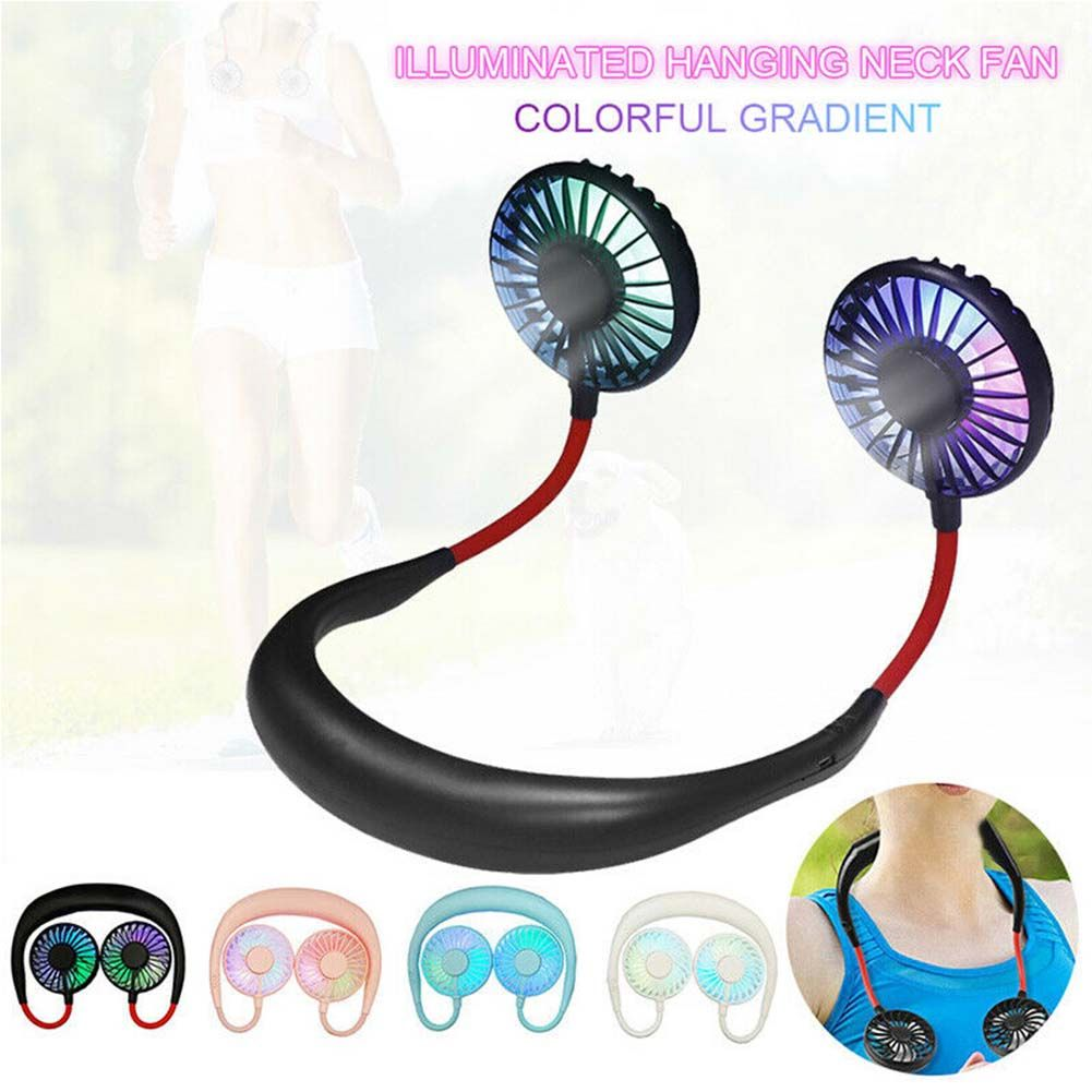 LED Portable Lazy Neck Hanging Aromatherapy Dual Cooling Fan