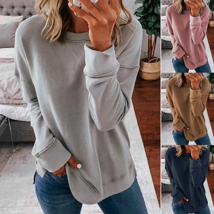 Women Casual Long Sleeve Round Neck Loose Tops