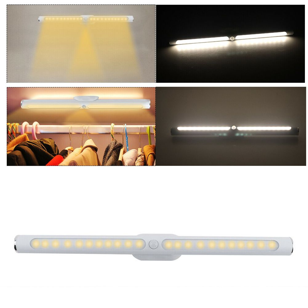 22LED Wireless 180°Night Light PIR Motion Touch Sensor USB Cabinet Lamp