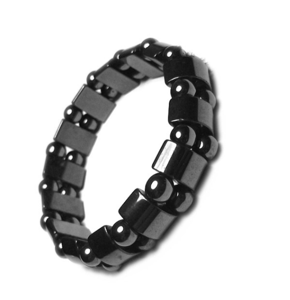Unisex Magnetic Therapy Black Stone Beads Weight Loss Bracelet