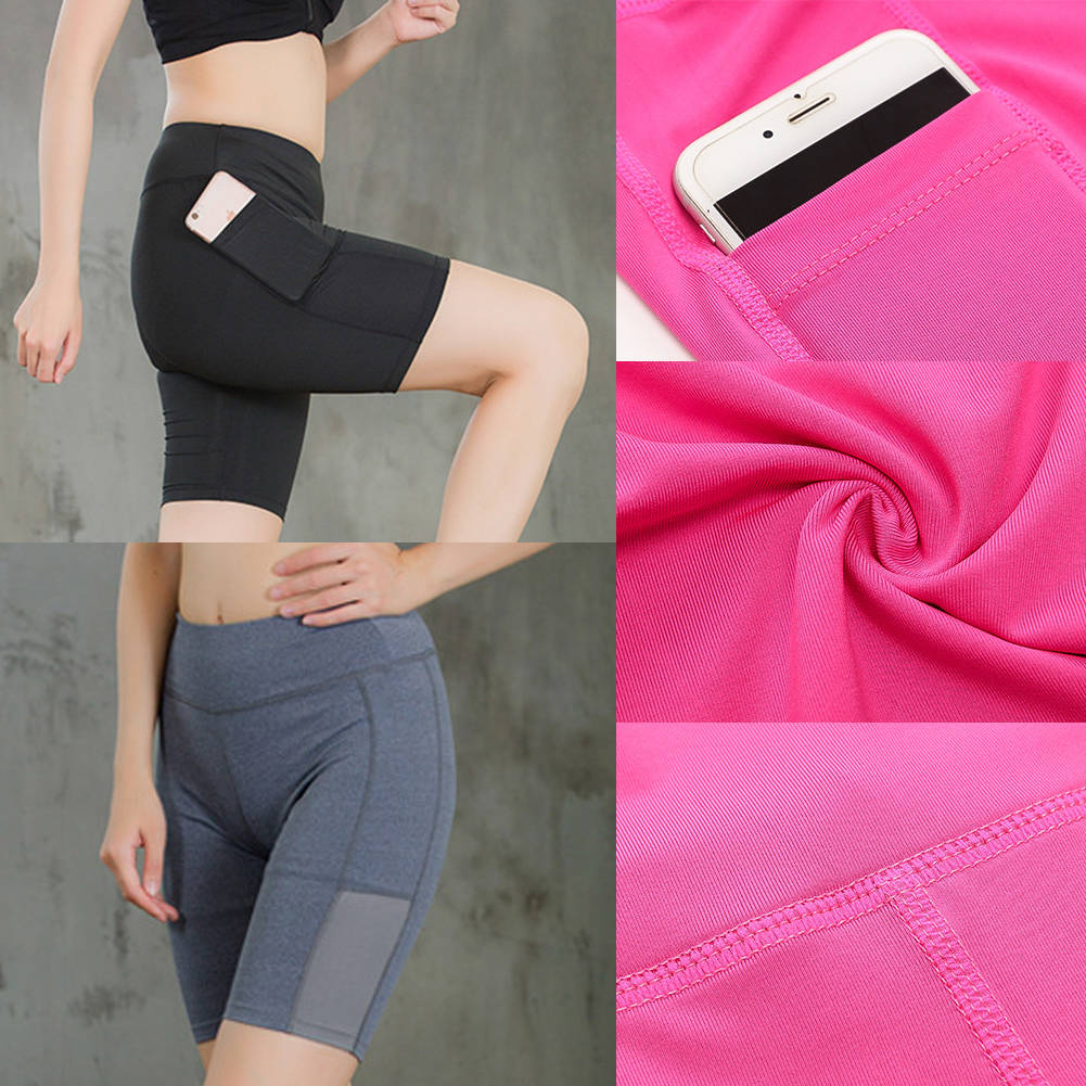 Sports Compression Phone Pocket Shorts Gym Fitness Yoga Pants