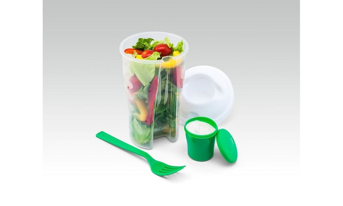 Portable Fit & Fresh Salad Shaker Bottle Containers