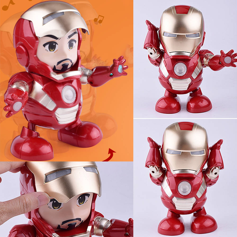Dance Iron Man Avengers Action Figure Toy LED Flashlight with Music Sound