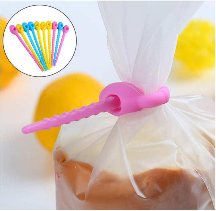 10Pcs Multi-use Food Grade Silicone Bag Clip Ties Management Zip Food Saver