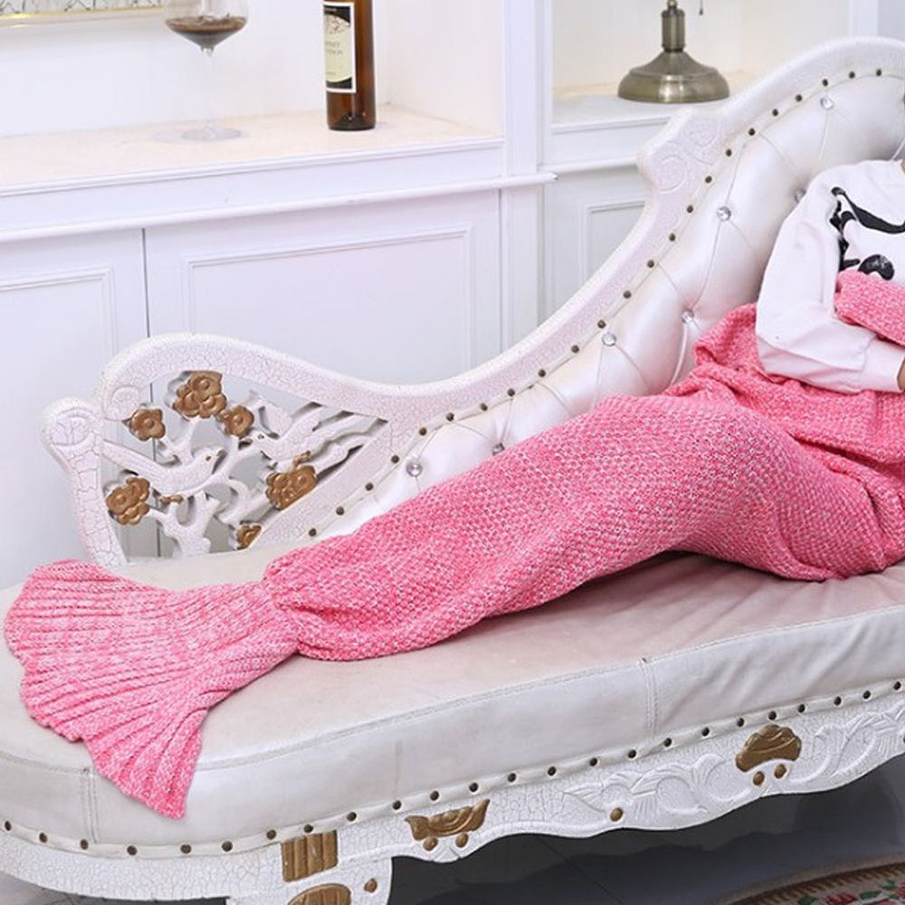 Mermaid Tail Blanket Super Soft Warm Hand Crocheted Knitting Wool