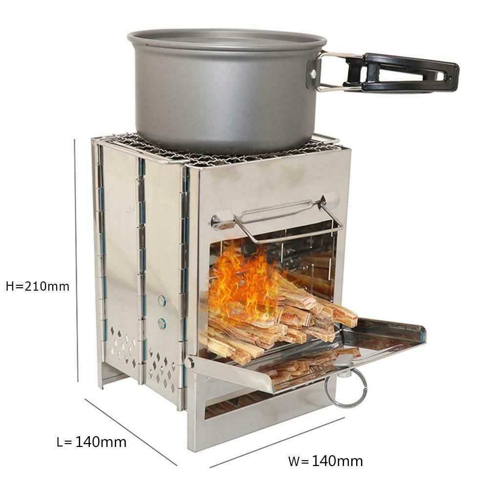 Portable Stainless Steel Outdoor Camping Wood Stove Kit for Cooking BBQ