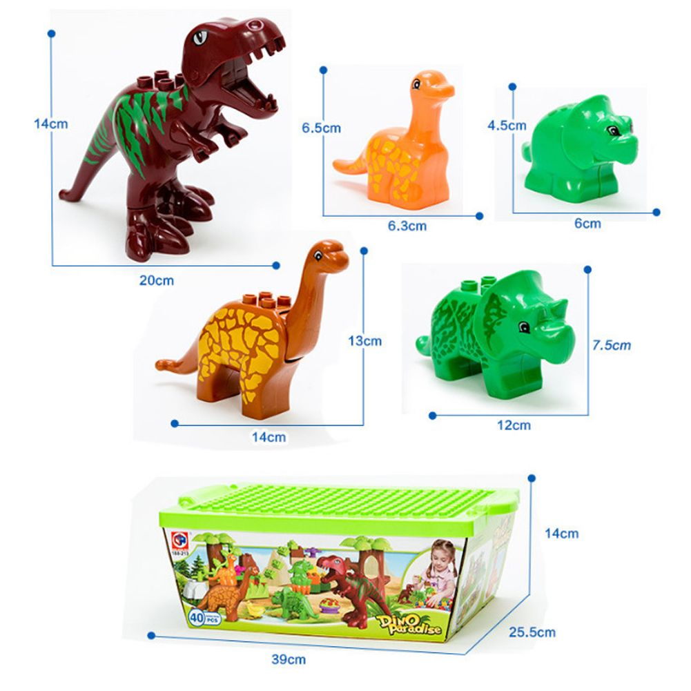 40PCS Cartoon Dinosaur Building Blocks Bricks Model Figure Toy