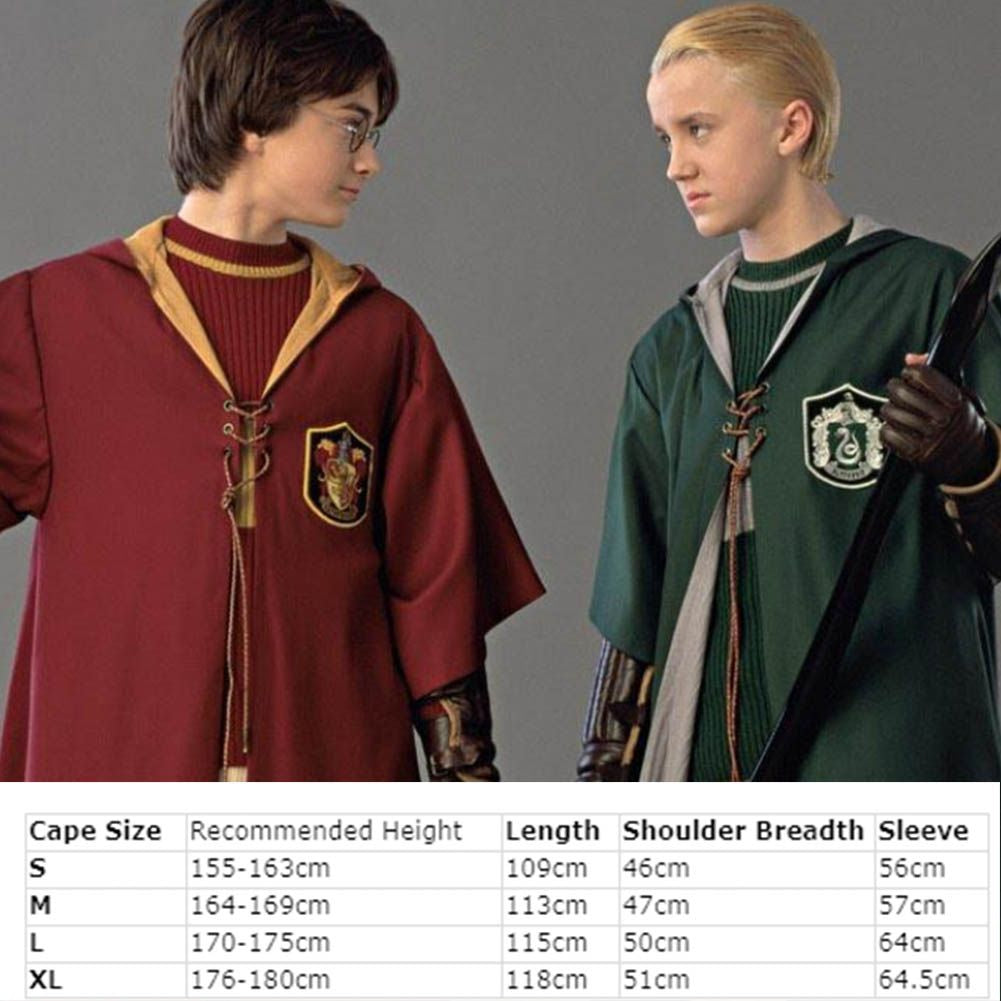 Harry Potter Slytherin Gryffindor Cloak Robe Cosplay Costume