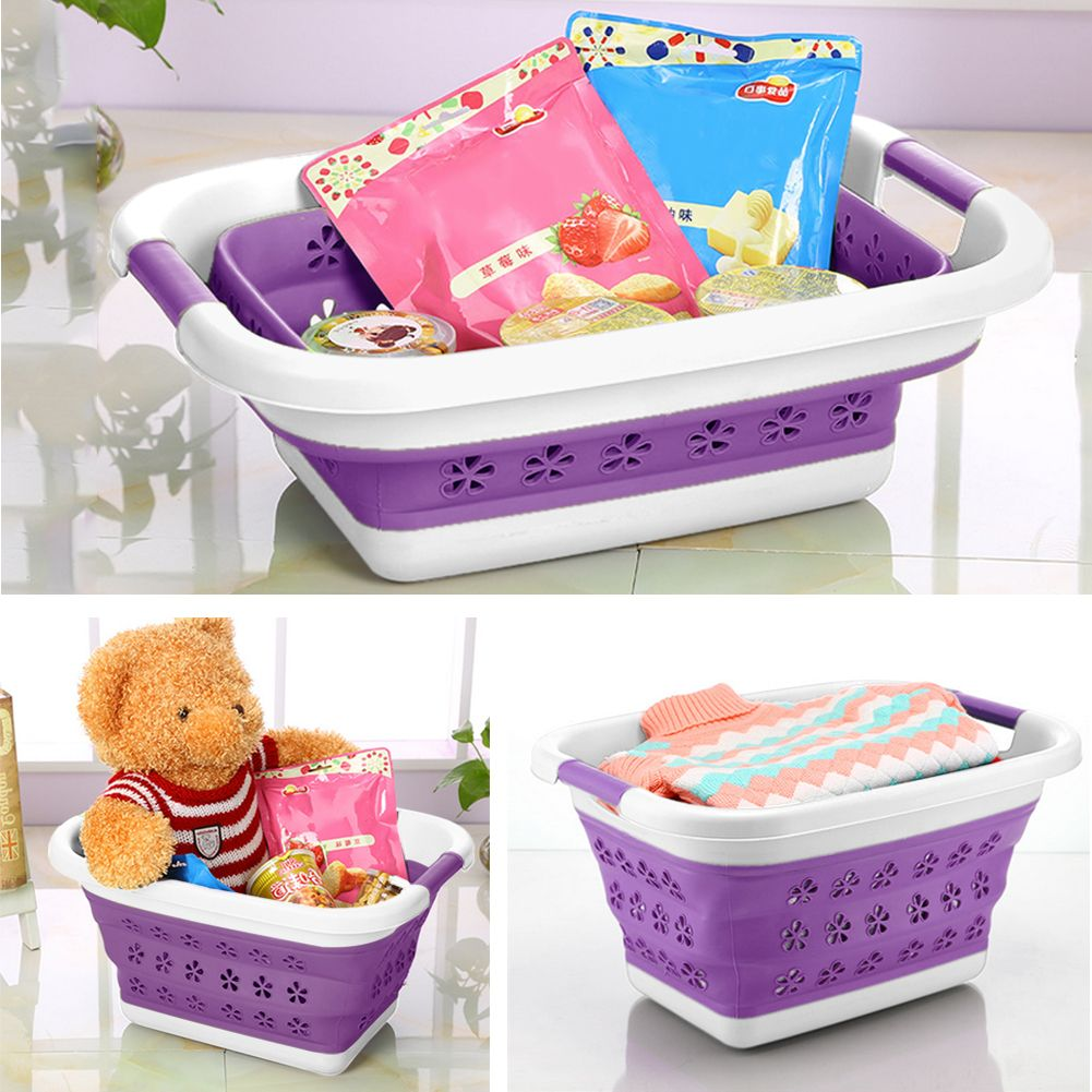 Collapstible Plastic Laundry Basket Foldable