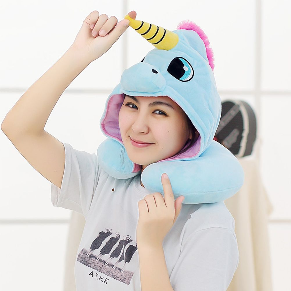 Unicorn Neck U-pillow Sleeping Hooded Pillow For Aircraft Travelling Office