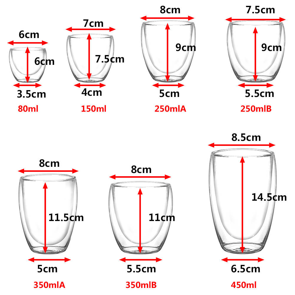 Double Walled Insulated Glasses Thermal Coffee Glass Mug