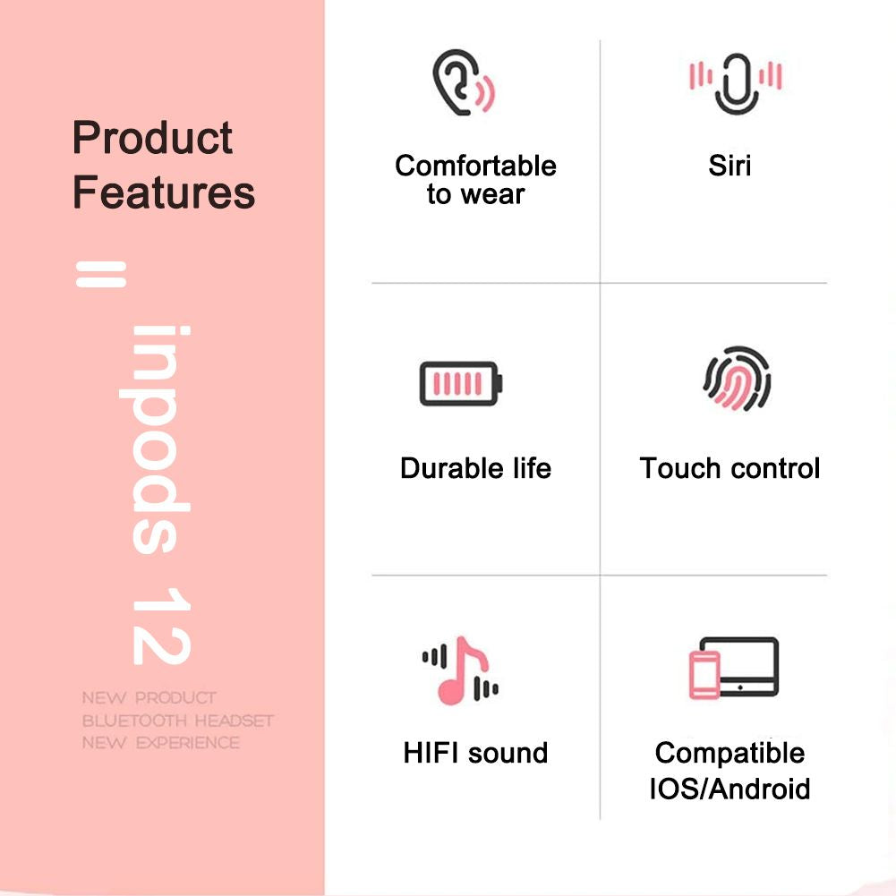 Inpods12 TWS Bluetooth 5.0 Wireless Earphone Headphones Bluetooth Headset Earphone with Micphone Siri