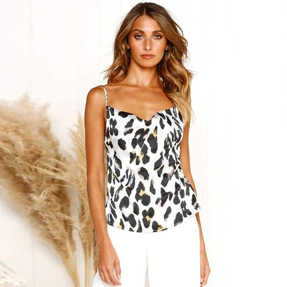 Women Leopard Satin Tops Summer Low Cut Strap