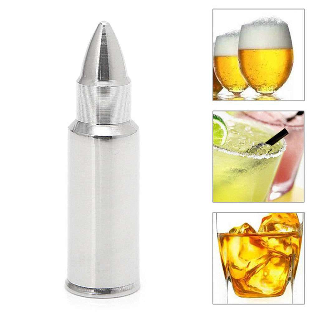 4 Pcs Stainless Steel Bullet Ice Cube Whisky Stones Wine Cooling