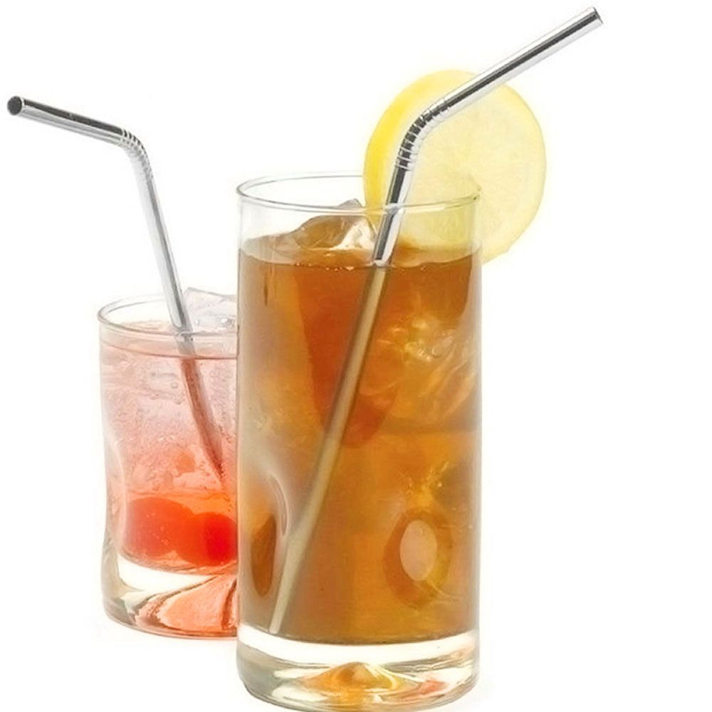 4 Metal Stainless Steel Drinks Straw & 1 Straw Cleaner Reusable For All Parties