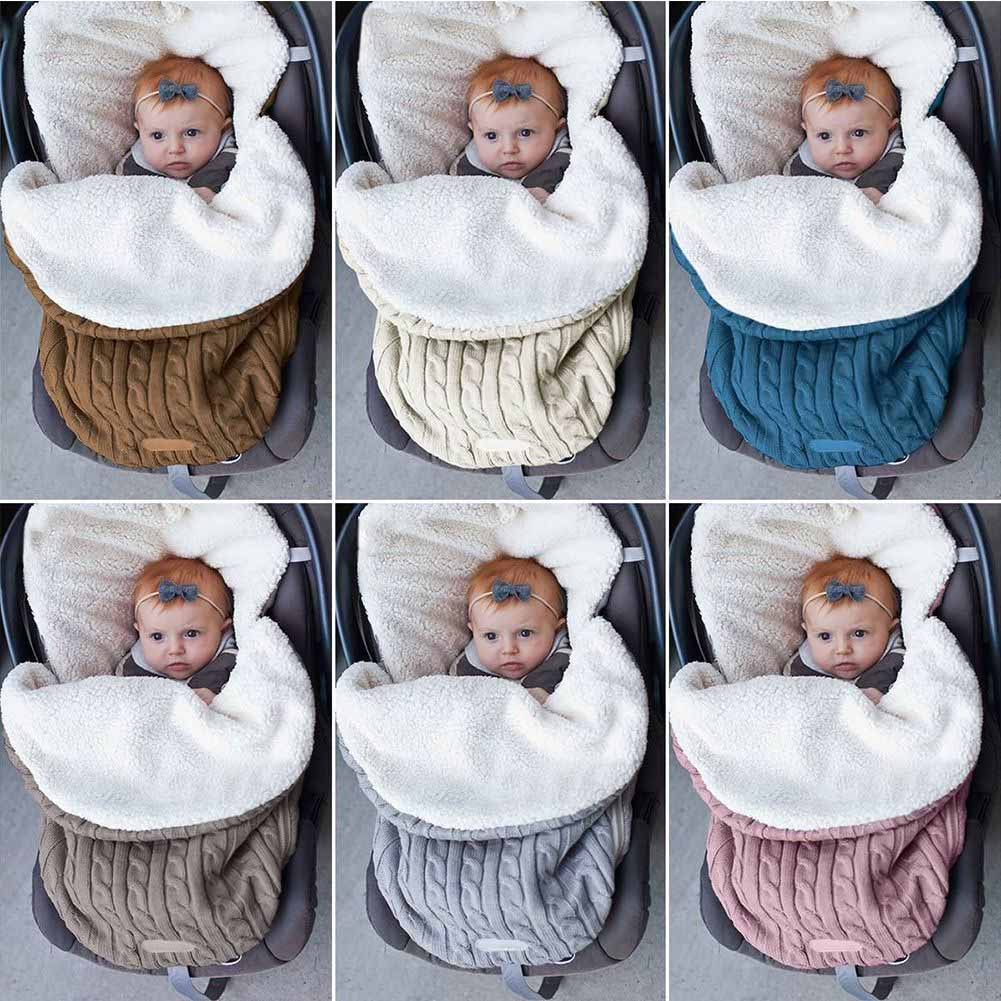 Baby Knit Swaddle Stroller Wrap Blanket Warm Infant Pram Sleeping Bag