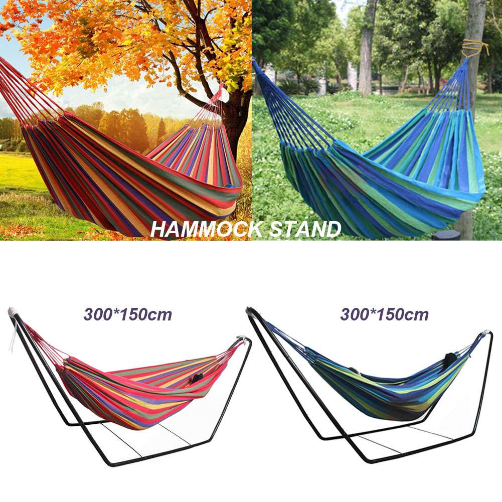 Double Hammock Garden Camping Patio Beach Travel Swing Hanging With Bag