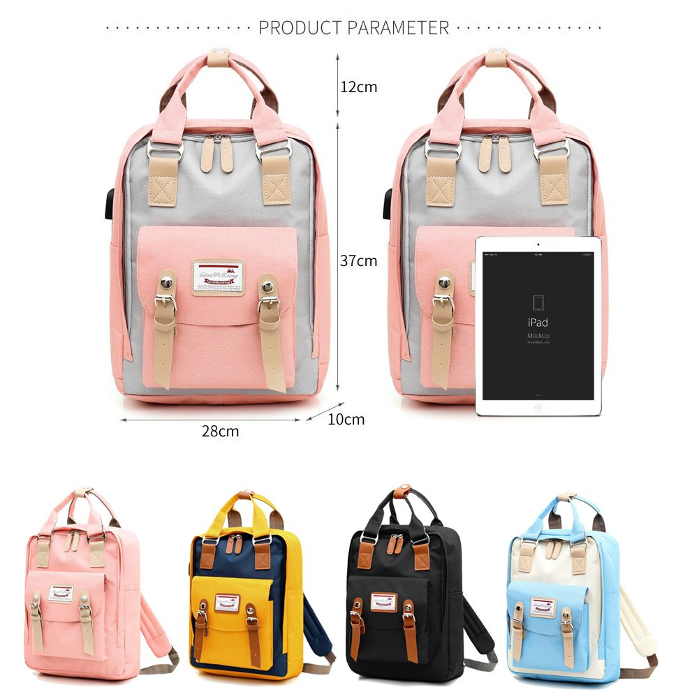 Waterproof Backpack for USB Charge Travel Laptop Bagpack