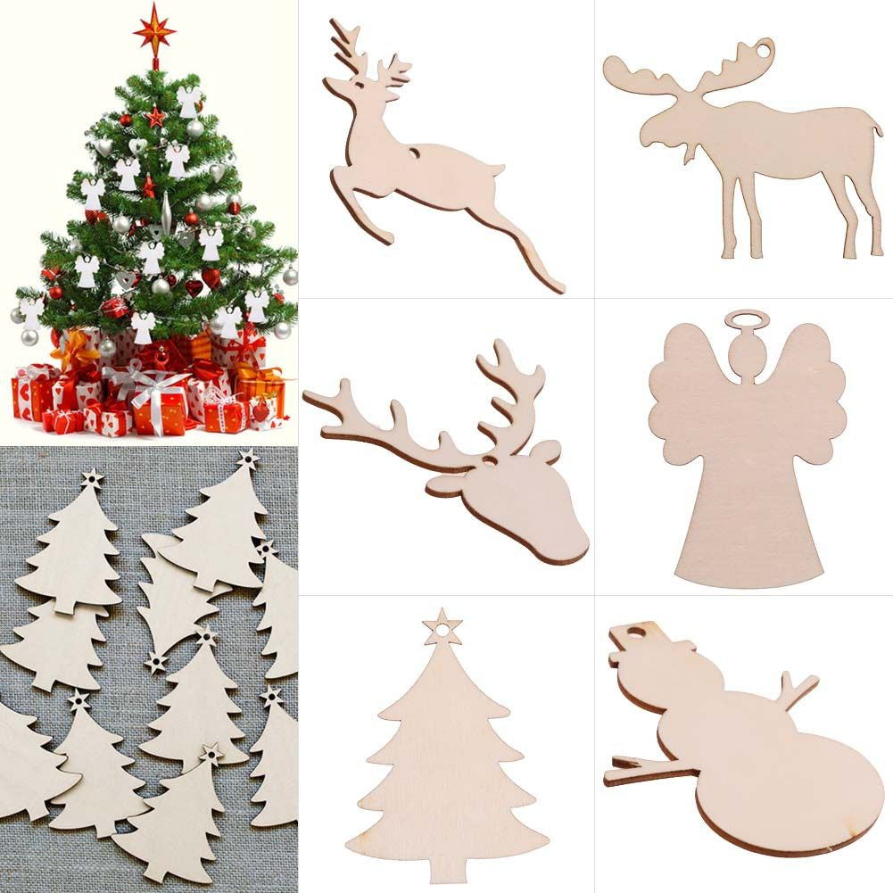 Christmas Decorations Tree Wooden Heart Shapes Blank Painting Craft Hanging
