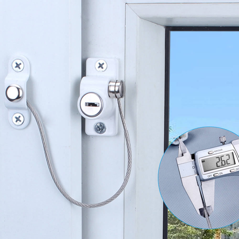 5/10/15 Pcs UPVC Window Restrictor Safety Cable Lock Wire Kids Security Locks
