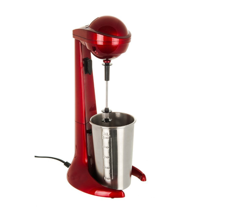 New Model 100W Red Retro Milk Shake Maker Machine with 500ml Stainless Steel Mixing Cup Ideal for preparing Frothy Milkshakes, Protein Shakes, omelete mixes or Even Mixing Cocktails