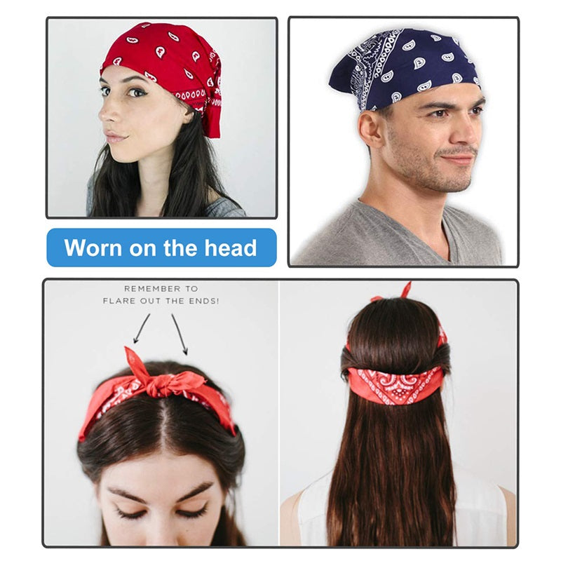 5/10 Pcs Assorted Bandanas Cowboy Square Head Scarf Face Covers