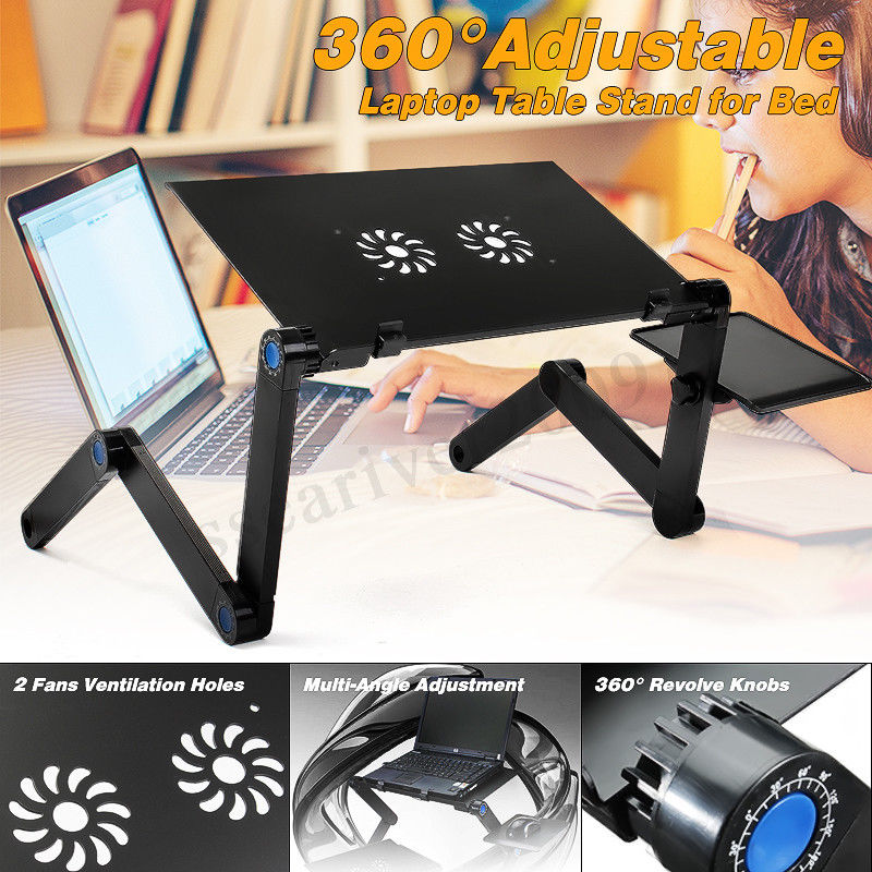 360 Degree Adjustable Foldable Laptop Table Stand With Mouse Board And Cooler