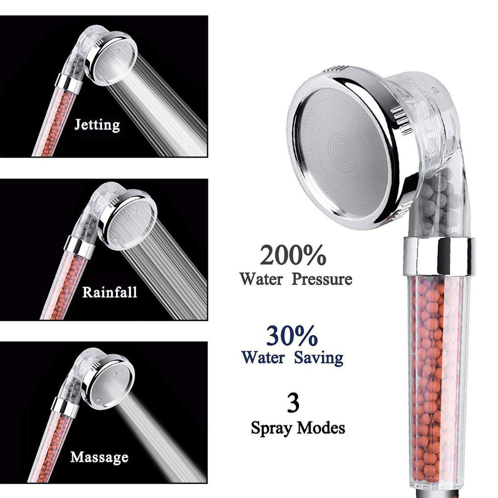 3 Mode Adjustable Ionic High Pressure Water Saving Shower Head
