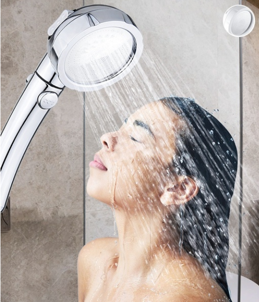Handheld Shower Head Set, Negative Ion Three-mode Pressurized Water-saving Filter Hand Shower, Suitable for Dry Skin and Hair
