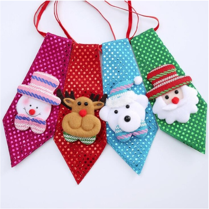 4 Pack Christmas Santa Claus Sequins Tie Xmas Decoration Ornaments