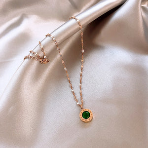 Green Emerald 21k Gold plated Necklace