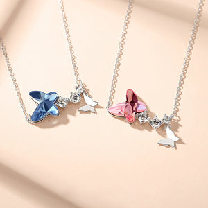Best Selling High Quality 925 Sterling Silver Butterfly Crystal Pendant Necklace