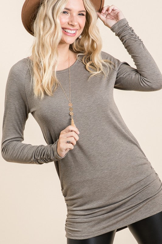 Solid Knit Tunic Top (2 Colors)