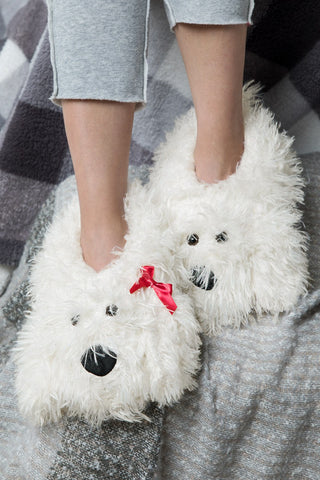 White Pup Slippers