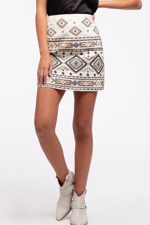 Open image in slideshow, Embroidered Boho Mini Skirt
