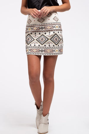 Embroidered Boho Mini Skirt