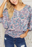 Lilac Floral Smocked Waist Top
