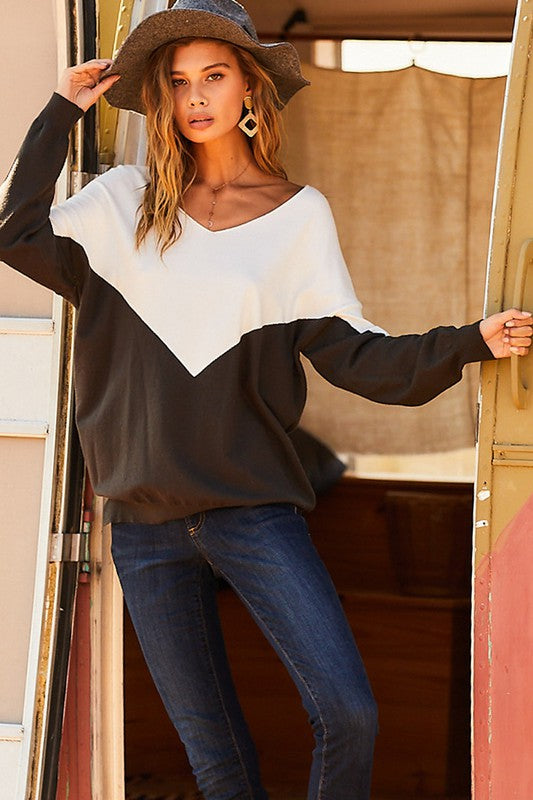 Black Olive V-Neck Sweater